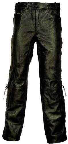 Modeka kožené chopper kalhoty Brighton se šněrováním - kožené kalhoty na motorku, velikost 3XL