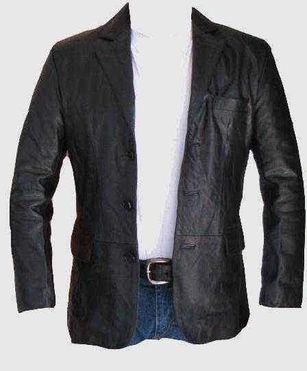 Blazer kožené sako pánské, černý kožený kabát