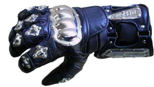 Metal kožené rukavice na motorku, kovové chrániče na kloubech a prstech