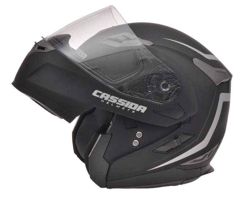 Cassida Compress výklopná helma s dofukem, černá matná přilba na motorku