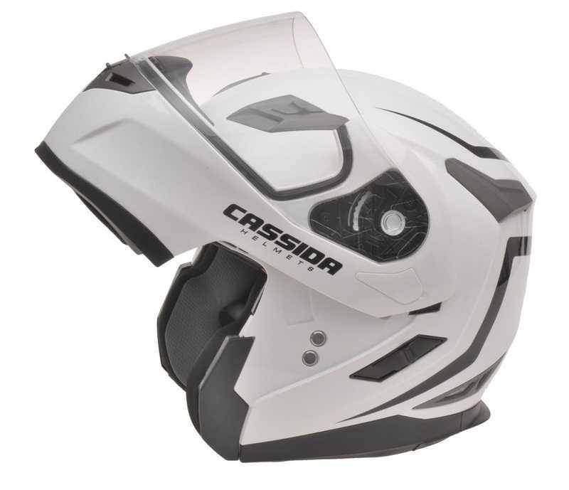 Cassida Compress výklopná helma s dofukem, bílá perleťová přilba na motorku