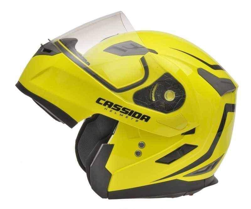 Cassida Compress výklopná helma s dofukem, žlutá fluo, vyklápěcí přilba na motorku