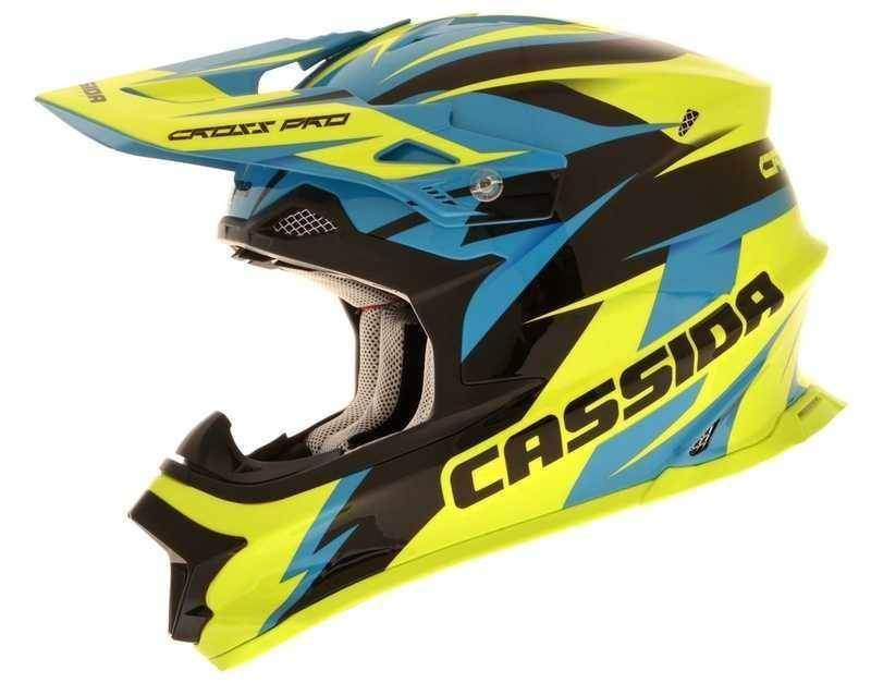 Cassida Cross Pro motocrossová přilba, modrá žlutá fluo černá helma na motorku