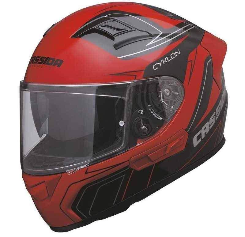 Cassida Cyklon integrální helma na motorku, černá červená přilba na motorku