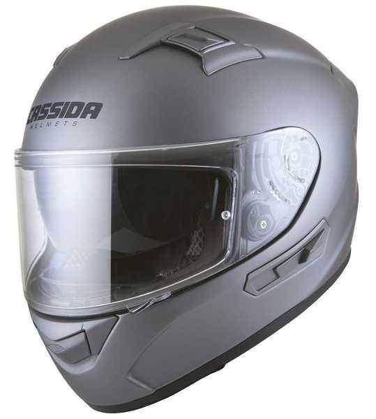 Cassida Cyklon integrální helma, stříbrná titanium matná přilba na motorku
