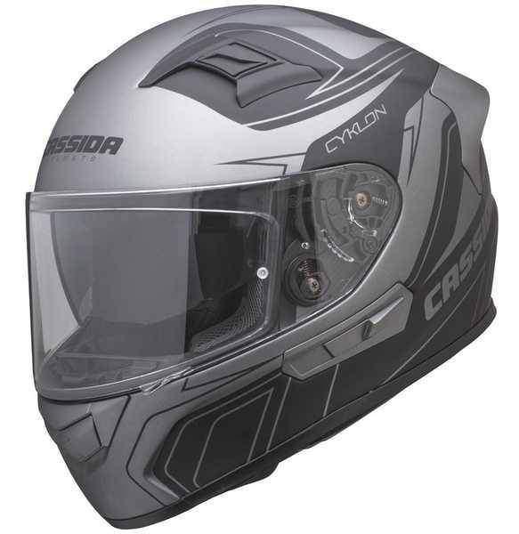 Cassida Cyklon integrální helma na motorku, černá stříbrná titanium matná přilba na motorku