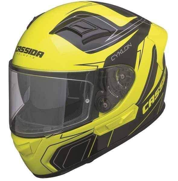 Cassida Cyklon integrální helma na motorku, černá žlutá fluo přilba na motorku