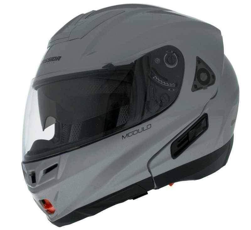 Cassida Modulo výklopná helma, stříbrná titanium, přilba na motorku