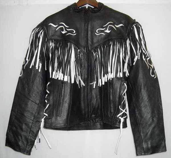 Kožená bunda dámský křivák na motorku - černobílé třásně