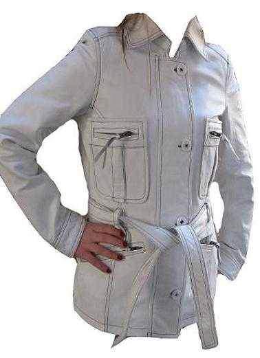 Vyprodáno - Stylové bílé kožené sako dámské, kožený kabát