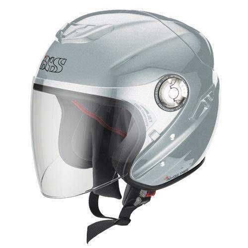 IXS IXS HX 91 jet stříbrná otevřená přilba se sluneční clonou na motorku a scooter M