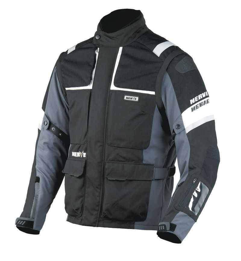 NERVE G-Drive tmavá textilní cestovní bunda na motorku