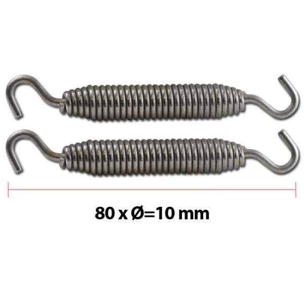 Pružina na výfuk, 80xØ10mm, V2A nerezová ocel, 2 kusy