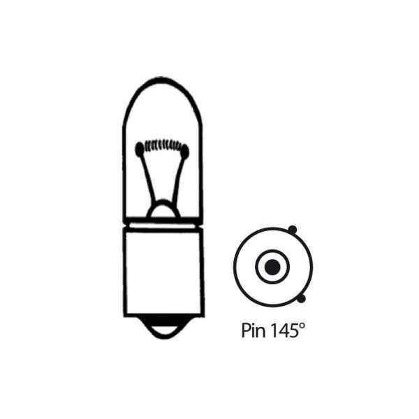 Halogenová žárovka čirá, 12V6W (BAX9S), Pin 145°