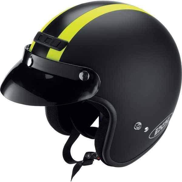 IXS HX 105 černá žlutozelená matná otevřená jet přilba, helma na motorku