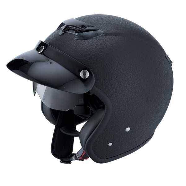 IXS HX 87 CRACKLE černá matná otevřená jet helma se sluneční clonou a 3D designem na povrchu, přilba na motorku a skůtr