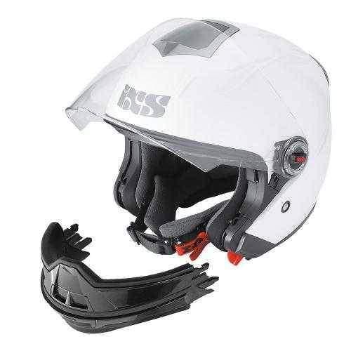IXS HX 144 Transformer přilba integrální a otevřená bílá helma na motorku