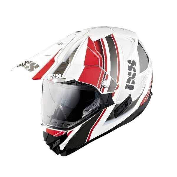 IXS HX 207 ATLAS červenobílá enduro přilba se sluneční clonou, helma na motorku
