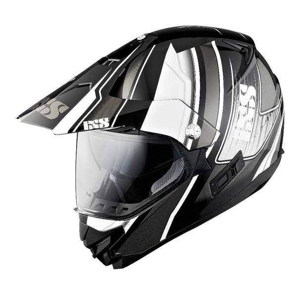 IXS HX 207 ATLAS černobílá enduro přilba se sluneční clonou, helma na motorku