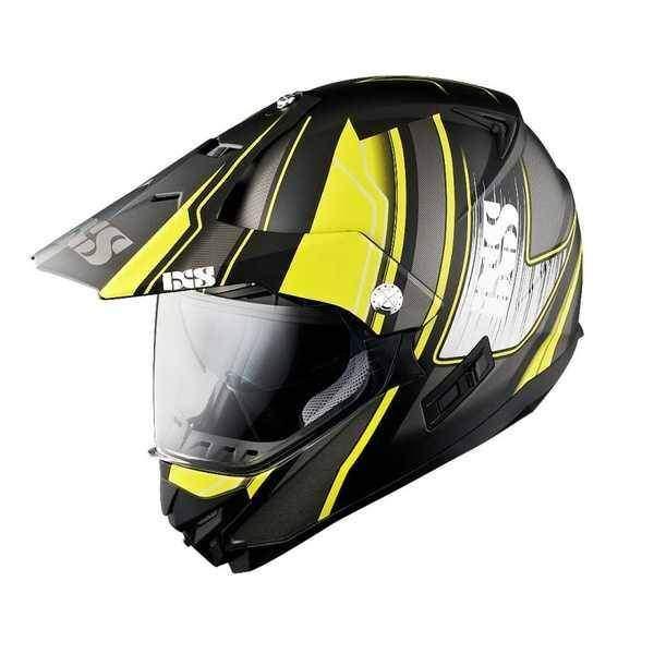 IXS HX 207 ATLAS černožlutá matná enduro přilba se sluneční clonou, helma na motorku