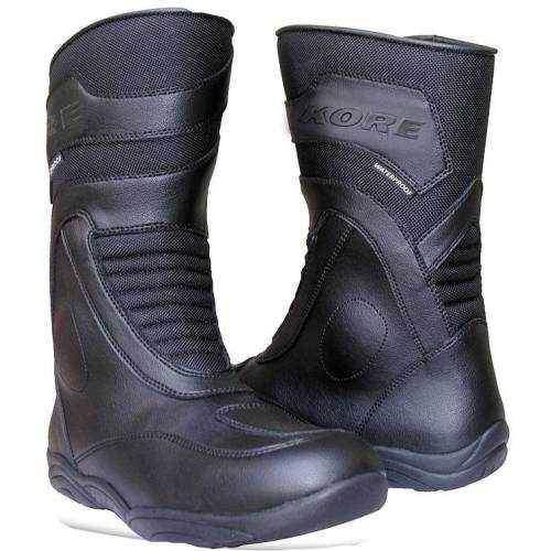 Kore Touring Mid, černé kožené cestovní boty na motorku