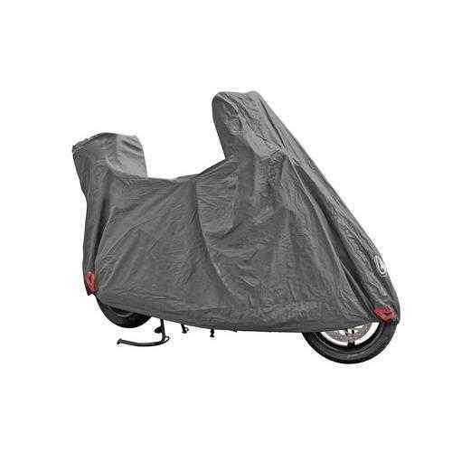 Plachta na motorku OPTIMA PLUS, univerzální pro zakrytí motorky a skůtru s velký plexi a kufrem