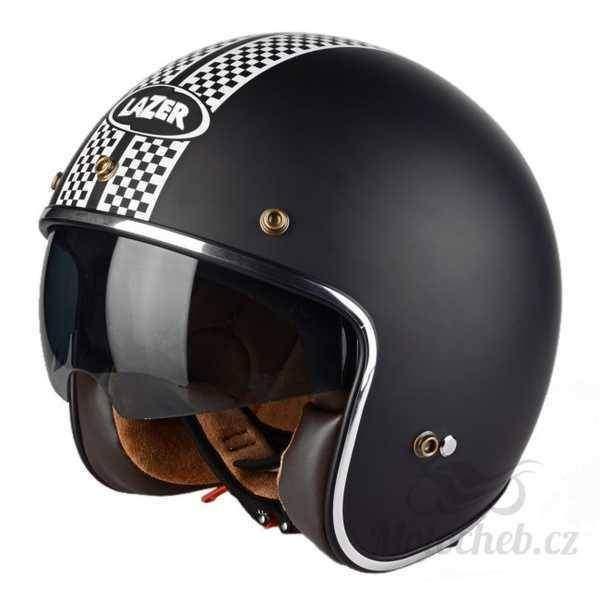 2143a6c3467 Lazer Mambo Evo Le Mans černá-grafika otevřená helma