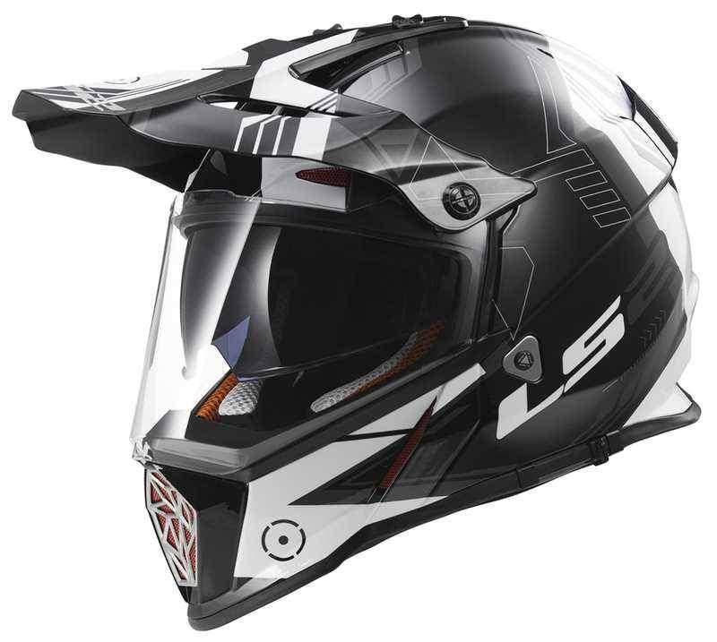 LS2 MX436 Pioneer Trigger černobílá enduro helma na motorku