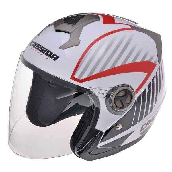 Cassida Magnum JET otevřená helma na motorku, bílo-červená