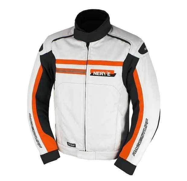 NERVE X66 bílá oranžová sportovní motocyklová bunda na motorku