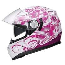 a2cc7a75ab0 Nox N915 Ladybug dámská bílá růžová integrální přilba na motorku se  sluneční clonou