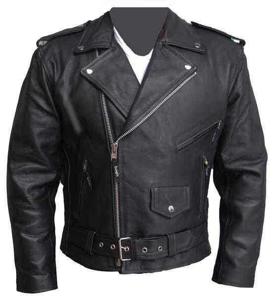 Kožený křivák Protect s chrániči, kožená motorkářská bunda chopper