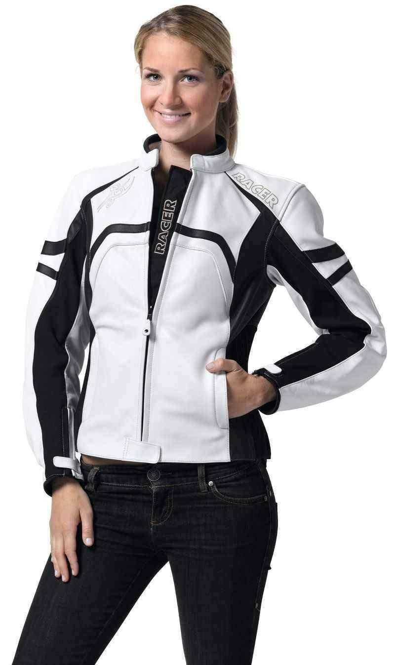 Racer Sue bílá kožená bunda na motorku