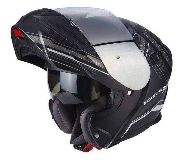 5c76d3adde7 Scorpion EXO-920 SATELLITE matná černá stříbrná výklopná helma na motorku