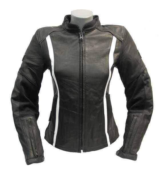 SQ PIA Lady černobílá černošedá dámská kožená bunda na motorku ... c0acc15aee